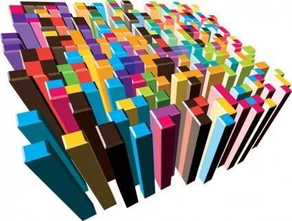 free vector Colorful threedimensional column vector