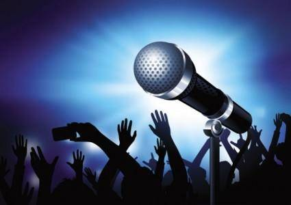 free vector Microphone bright background 02 vector