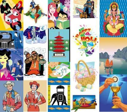free vector 19 european and american style illustrations vector