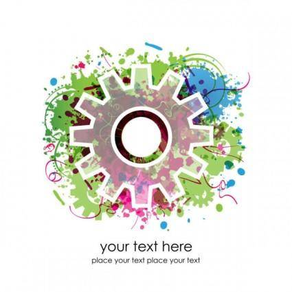 Colorful gears background 02 vector