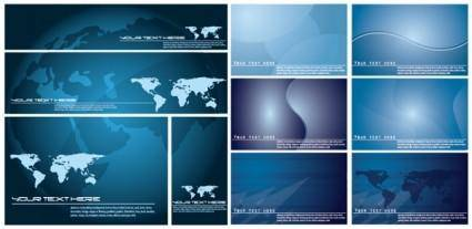 free vector Blue vector world map background