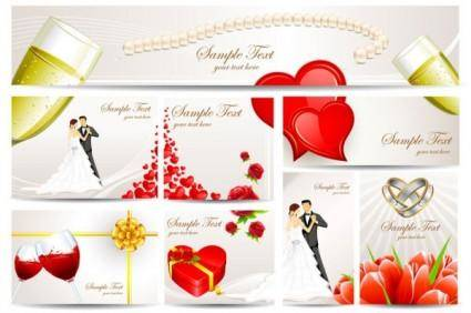 free vector Exquisite wedding greeting card vector