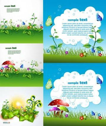 Beautiful green cartoon background vector