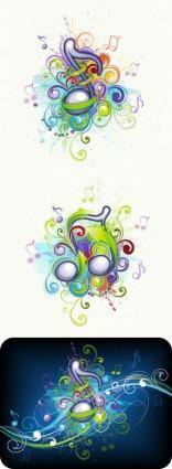 Brilliant music background pattern 01 vector