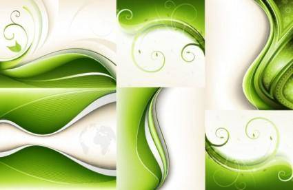 free vector 6 green vector dynamic background