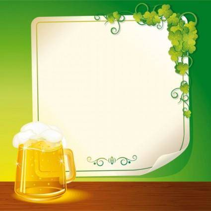 free vector Beer and background paper 02 vector
