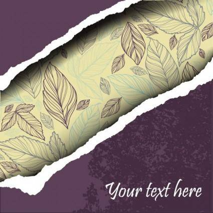 Leaves of torn paper vector background