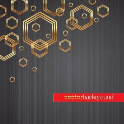 Golden hexagon background vector