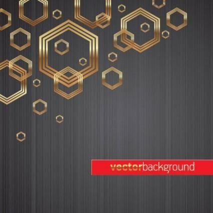 Golden hexagon background vector