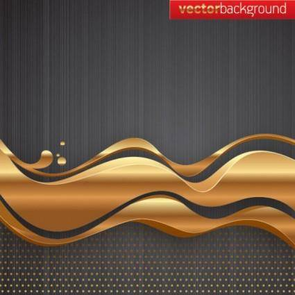 free vector Golden wave to the background vector
