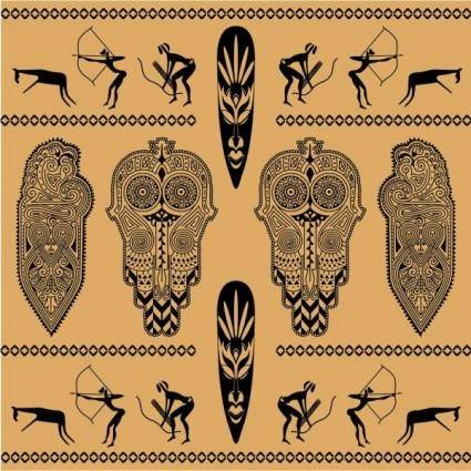 African ethnic background decoration 02 vector