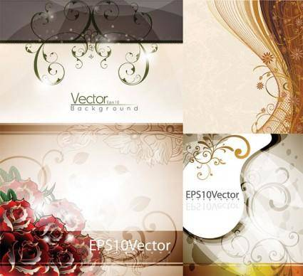 Four elegant background pattern vector