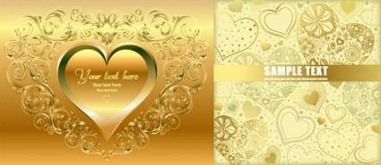 free vector Gold heartshaped vector background
