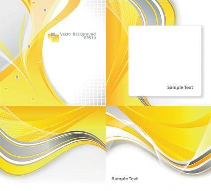 free vector 4 dynamic curves yellow background vector