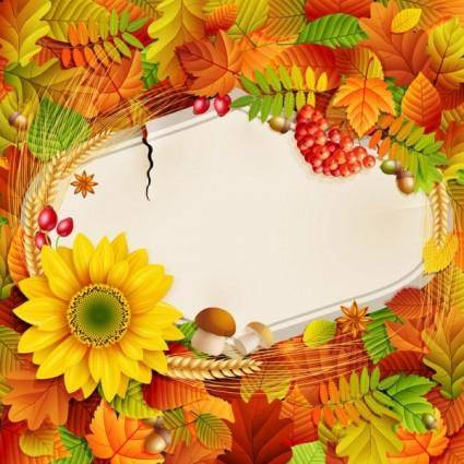 Beautiful autumn photo background 01 vector