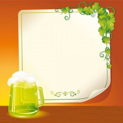 Beer and background paper 01 vector