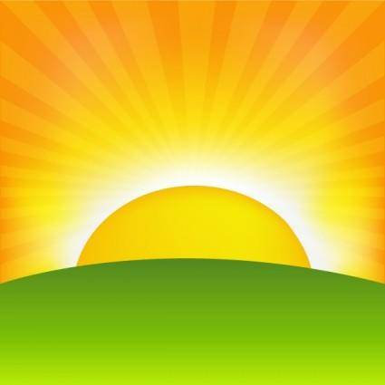 free vector Sunrise cartoon background 01 vector