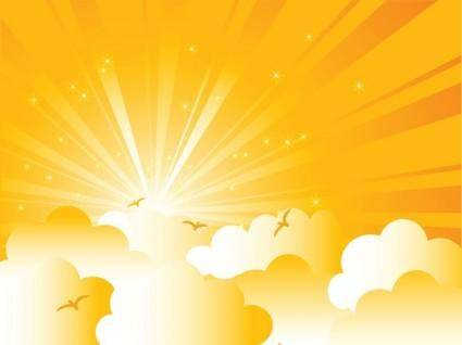 free vector Cartoon sunrise background 02 vector