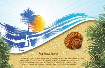free vector Summer beach background 06 vector