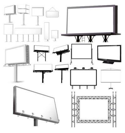 Variety of types of outdoor billboard template vector