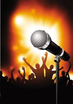 Microphone bright background 03 vector