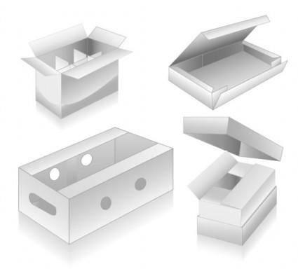 free vector Threedimensional box blank vector