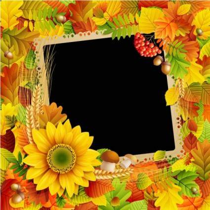 free vector Beautiful autumn leaves frame background 03 vector