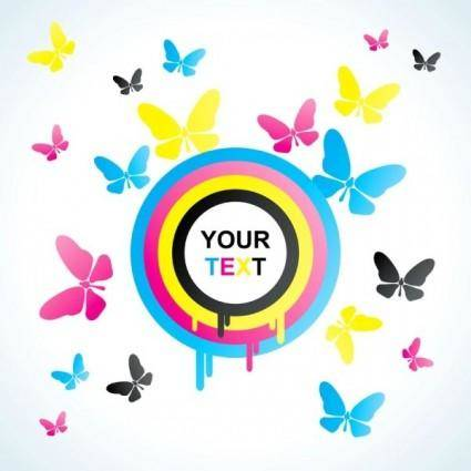 free vector Colorful butterfly background 01 vector
