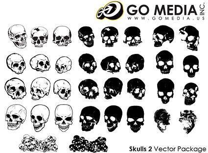 free vector Go media produced vector multiangle skull