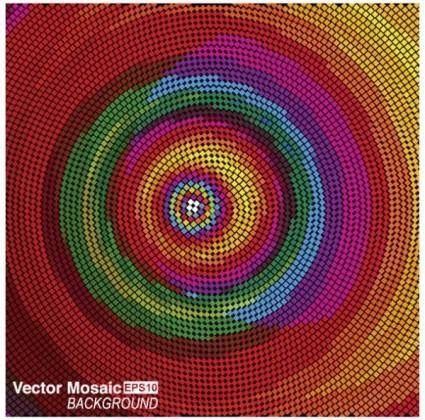 free vector Intensive dynamic mosaic background 03 vector