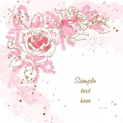 Romantic handpainted background 01 vector
