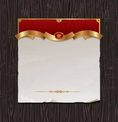 free vector Gold ribbon of wood background vector