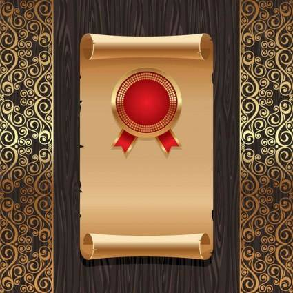 Golden background pattern vector old paper board