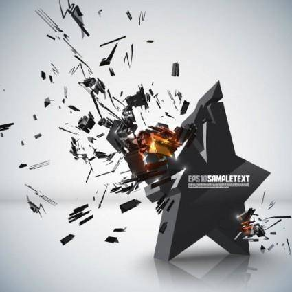 free vector Explosive threedimensional graphics 01 vector