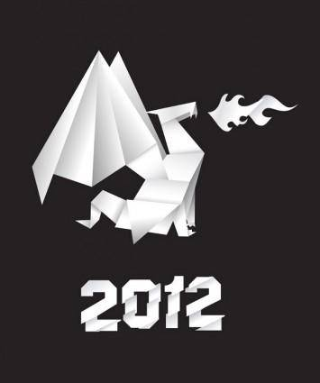 free vector Origami dragon vector foreign