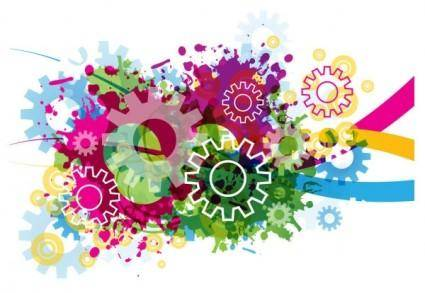 free vector Colorful gears background 03 vector