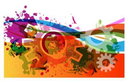 free vector Colorful gears background 05 vector