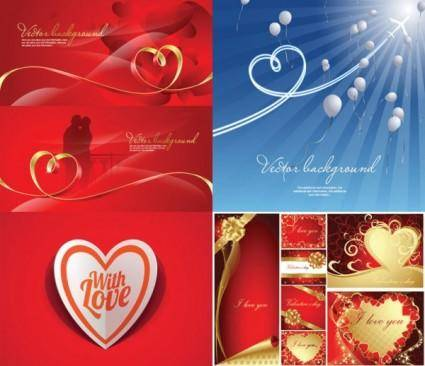 Romantic heartshaped ribbon background vector