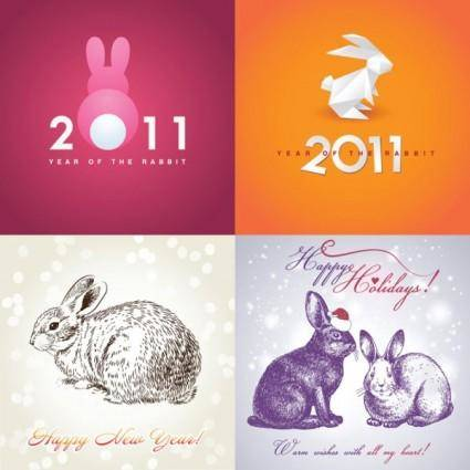 free vector 2011 rabbit image background vector