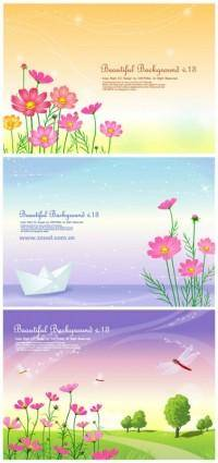 3 cute little daisy and background vector from