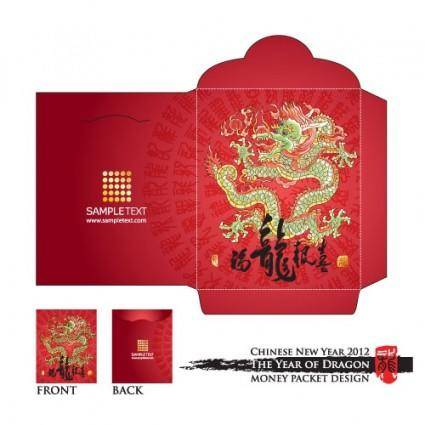 Long red envelope template 06 vector