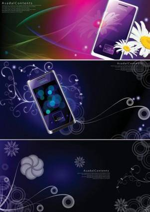 free vector Colorful vector background dream phone patterns