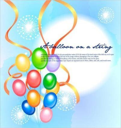 Colorful ribbon balloon festival fireworks background vector 2