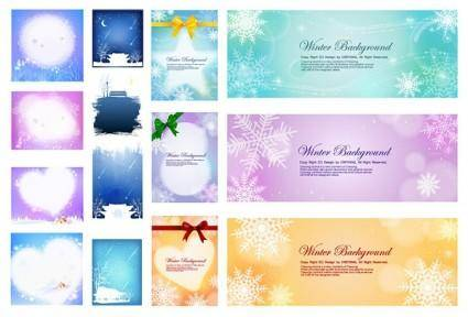 free vector Several beautiful winter background vector