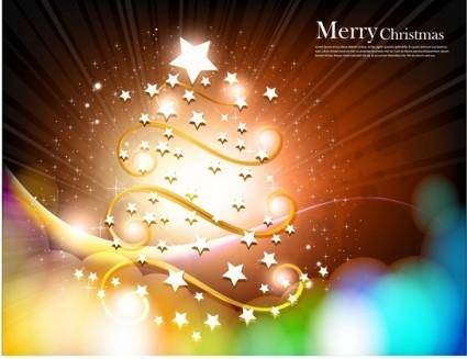 free vector Christmas tree with star vector fantasy background