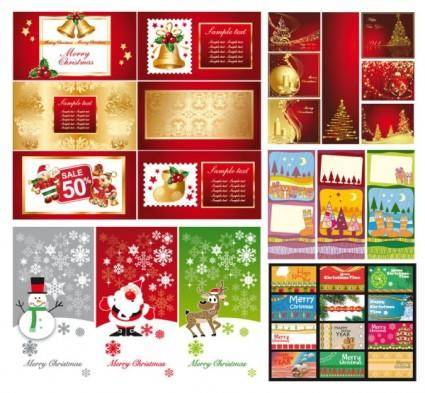 A variety of christmas background vector greeting cards