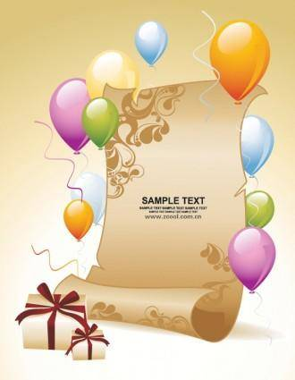 Balloon gift paper background vector
