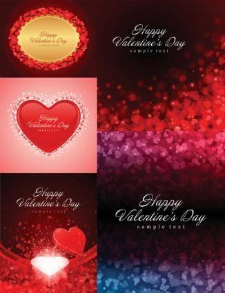 free vector Romantic love cards and background vector
