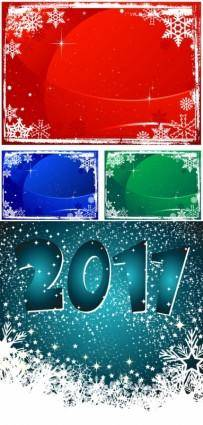 free vector New year background beautiful snowflakes vector