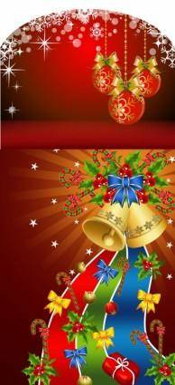 Background and christmas tree decorations vector